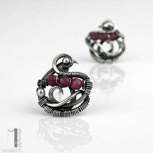 różowe kolczyki kolczyki-srebrne ellipsis - srebrne sztyfty