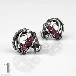 niesztampowe kolczyki rubiny ellipsis - srebrne sztyfty