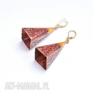 ciekawe piramidy kolczyki wykonane z blachy miedzianej 0,6mm