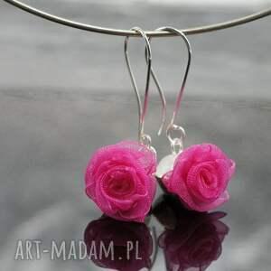 różowe kolczyki english roses -