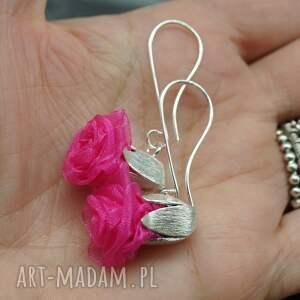 srebro kolczyki english roses - różowe