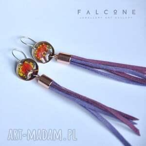 fioletowe kolczyki srebro fiolet i bordo