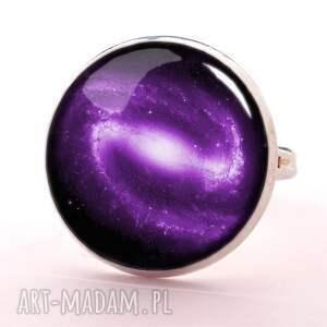 handmade kolczyki galaxy fioletowa nebula - małe