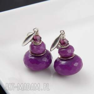 modne kolczyki fasetowany-jadeit fioletowe z jadeitów