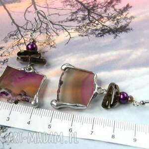 kwarc dymny kolczyki fioletowe z agatem