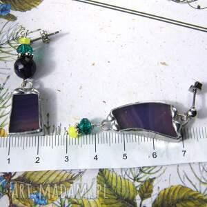 kolczyki z-agatem fioletowe asymetryczne