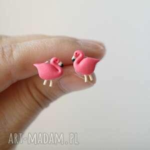 białe flamingi kolczyki