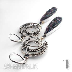 kolczyki flare srebrne z druzą
