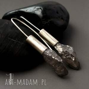 kolczyki flare srebrne z kwarcem
