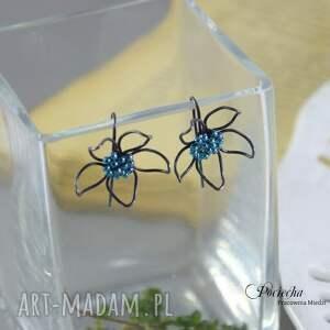 wyjątkowe kolczyki flowers blue - kwiatki