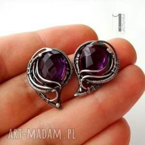 srebro kolczyki fioletowe folium - srebrne
