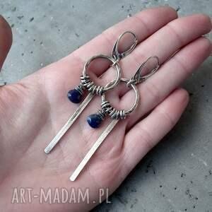 niebieskie kolczyki lapis-lazuli freeform - srebro i lapis