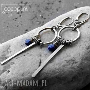 kolczyki lapis-lazuli freeform - srebro i lapis