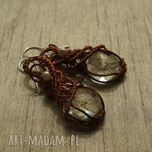 kolczyki wire-wrapping godne grety - z żywicy