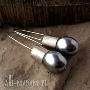 czarne kolczyki długie graphite iii srebrne
