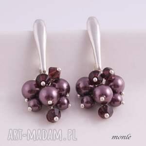 oryginalne kolczyki grona burgundy pearl