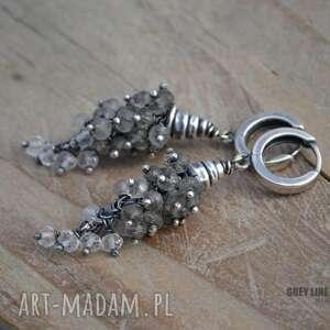 gustowne kolczyki srebro grona z kwarcem rutylowym