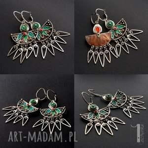 atrakcyjne plemienne maroko srebrne kolczyki z howlitem