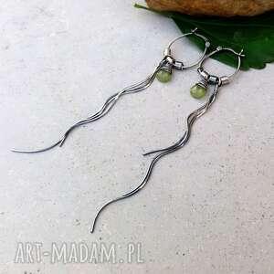 unikalne kolczyki srebro i wezuwian - bardzo długie
