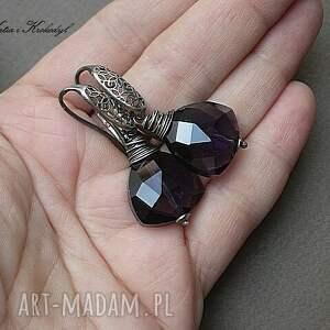 szkło kolczyki triangle violet -