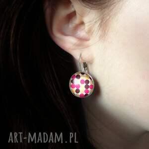 różowe kolczyki kropki i love 60s - duże wiszące