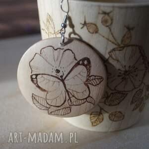 ikebana kolczyki motyla - ręcznie wypalane