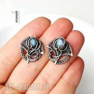 handmade kolczyki ażurowe irideae - srebrne