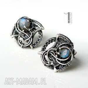 srebro kolczyki niebieskie irideae - srebrne