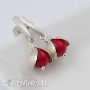 czerwone kolczyki srebro jarzębina - srebrne