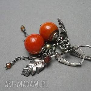 srebro oksydowane pomarańczowe jarzębina vol. 4 - kolczyki