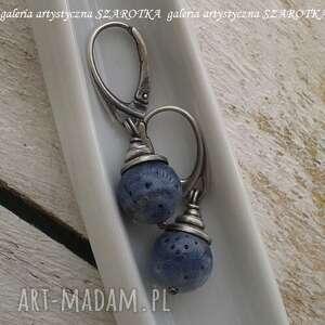 niebieskie jeansowe kolczyki z korala i srebra
