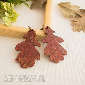 Jesienne kolczyki w formie liści dębu - fimo
