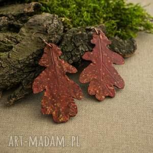 Jesienne kolczyki w formie liści dębu - fimo lekkie