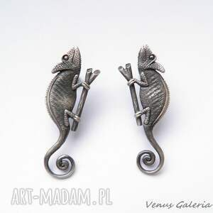Kameleony szare - kolczyki srebrne - venus srebro