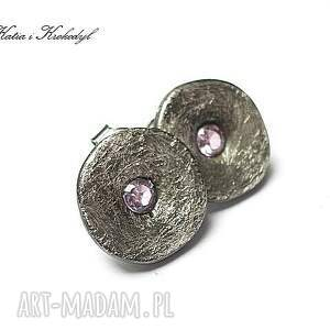 trendy kolczyki srebro kapsle pink