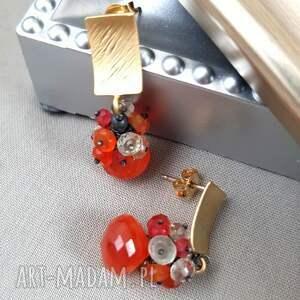 kobiece kolczyki pomarańczowe karneol i kwarc w złocie