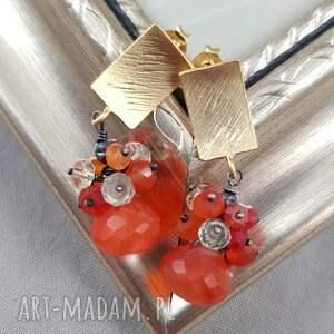 czerwone kolczyki grona karneol i kwarc w złocie
