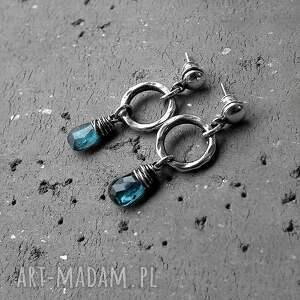 niebieskie kolczyki z-kianitem kianity w srebrze- kolczyki.