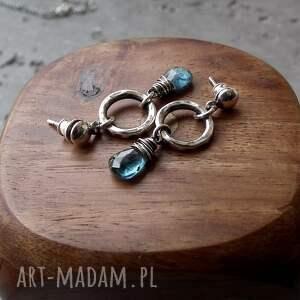 handmade kolczyki z-kianitem kianity w srebrze- kolczyki.
