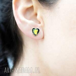 serce kolczyki żółte ♥kim jewelry♥ vintage