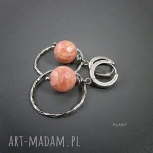 różowe kolczyki srebro koła z kamieniem słonecznym