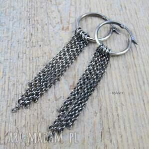 kolczyki ze srebra koła z łańcuszkami