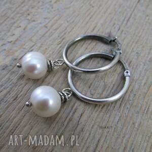 oksydowane kolczyki koła z perłą -