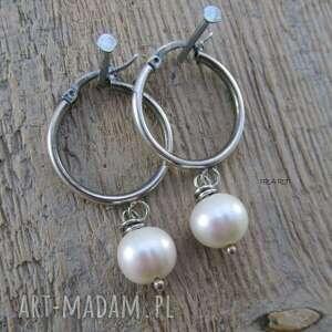 kolczyki oksydowane koła z perłą -