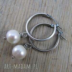 kolczyki srebro koła z perłą -