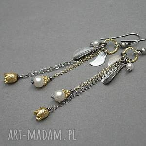 złote kolczyki wykonane ze srebra i pokrytego