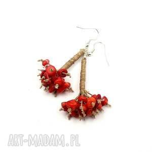 czerwone koral czerwony - kolczyki lniane
