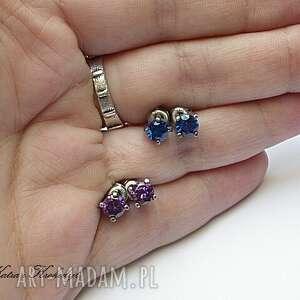 niebieskie kolczyki srebro kropeczki cobaltowe