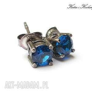 kolczyki srebro kropeczki cobaltowe