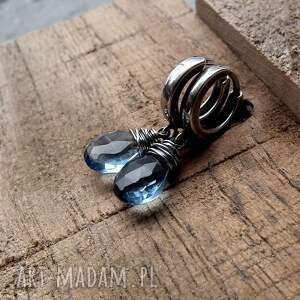 kolczyki delikatne kropelki - srebro i kwarc iolitowy